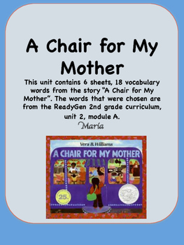 ReadyGen A Chair for My Mother Vocabulary 2nd Grade Unit 2