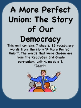 ReadyGen A More Perfect Union Vocabulary Cards 3rd Grade Unit 4 Module B