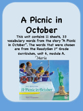 ReadyGen A Picnic in October Vocabulary 1st Grade Unit 6 Module A
