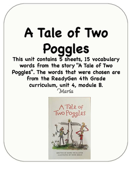 ReadyGen A Tale of Two Poggles Vocabulary 4th Grade Unit 4