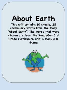 ReadyGen About Earth Vocabulary 3rd Grade Unit 1 Module B