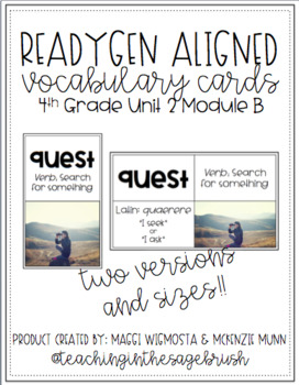 ReadyGen Aligned Vocabulary Cards - 4th Grade Unit 2 Module B