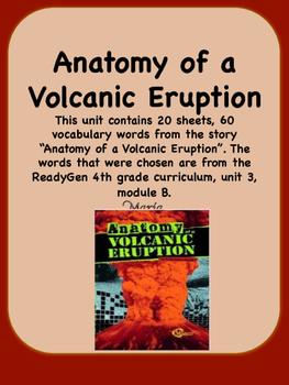 ReadyGen Anatomy of a Volcanic Eruption Vocabulary 4th Grade Unit 3 ...