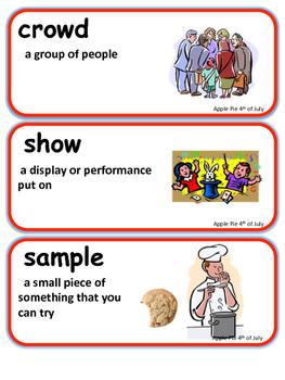 ReadyGen Apple Pie 4th of July Vocabulary Kindergarten Unit 4 Module A