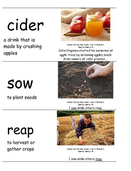 ReadyGen By the Way Vocabulary Cards:  Seed by Seed and Johnny Appleseed