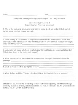 ReadyGen Close Reading Questions for Grade 5- Lesson 1