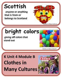 ReadyGen Clothes in Many Cultures Vocabulary Kindergarten Unit 4 Module B