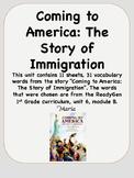 ReadyGen Coming to America Vocabulary 1st Grade Unit 6 Module B