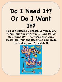 ReadyGen Do I Need It? Or Do I Want It? Vocabulary 2nd gra