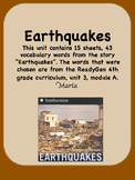 ReadyGen Earthquakes Vocabulary 4th Grade Unit 3 Module A