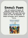 ReadyGen Emma's Poem Vocabulary 1st Grade Unit 6 Module A