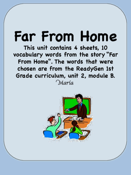 ReadyGen Far From Home Vocabulary 1st Grade Unit 2 Module B
