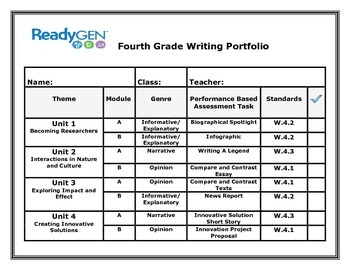 ReadyGen Fourth Grade Writing Portfolio Cover Sheet