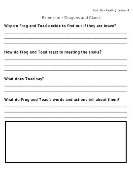 ReadyGen Grade 1 Unit 1 Mod A GRAPHIC ORGANIZERS (Extension for enrichment)