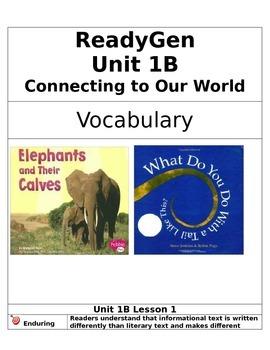 ReadyGen 2014 Grade 1 Unit 1B Concept Board to Differentiate Instruction