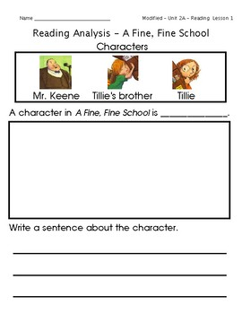 ReadyGen Grade 1 Unit 2 Mod A GRAPHIC ORGANIZERS (Modified for lower level)