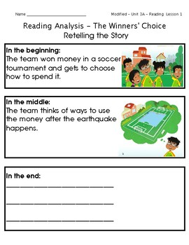 ReadyGen Grade 1 Unit 3 Mod A GRAPHIC ORGANIZERS (Modified for lower level)