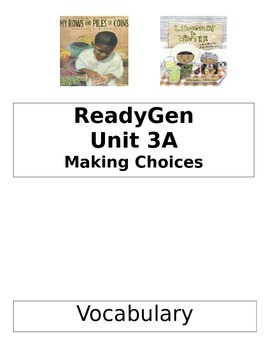 ReadyGen 2014 Grade 1 Unit 3A Concept Board to Differentiate Instruction