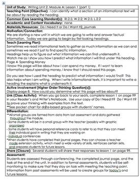 ReadyGen Grade 2 Unit 2B Lesson Plans WORKSHOP MODEL with DIFFERENTIATION