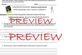 ReadyGen Grade 4: Module B Comprehension Assessment: Lessons 1-4