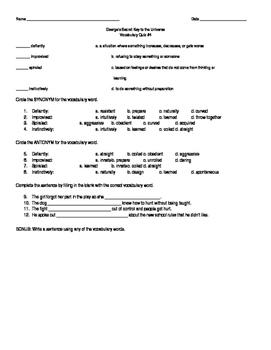 ReadyGen Grade 5: Unit 3 Module A: George's Secret Key Vocabulary Quiz