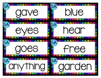 ReadyGen High Frequency Words - Rainbow - Second Grade