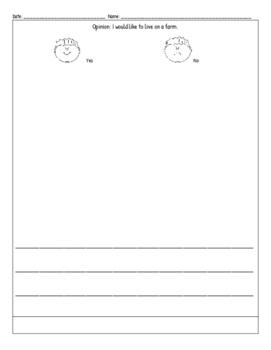 ReadyGen Kindergarten PBA 2B-Opinion Writing: I would live on a farm or not