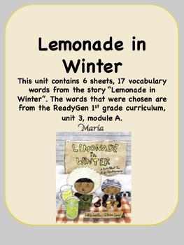 ReadyGen Lemonade in Winter Vocabulary 1st grade Unit 3 Module A