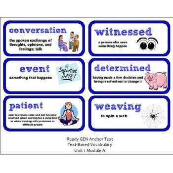 ReadyGen Lesson Plans Unit 1 Module A  - Word Wall Cards - EDITABLE -Grade 2