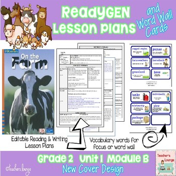 ReadyGen Lesson Plans Unit 1 Module B  - Word Wall Cards - EDITABLE -Grade 2