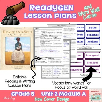 ReadyGen Lesson Plans Unit 2 Module A  - Word Wall Cards - EDITABLE -Grade 5