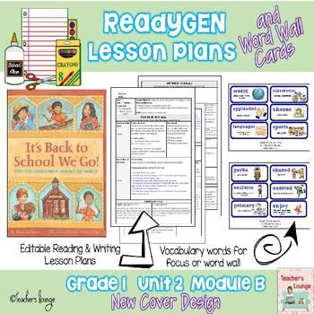 ReadyGen Lesson Plans Unit 2 Module B  - Word Wall Cards - EDITABLE -Grade 1