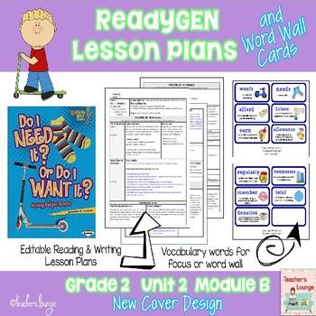 ReadyGen Lesson Plans Unit 2 Module B  - Word Wall Cards - EDITABLE -Grade 2