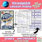 ReadyGen Lesson Plans Unit 3 Module A  - Word Wall Cards - EDITABLE -Grade 5