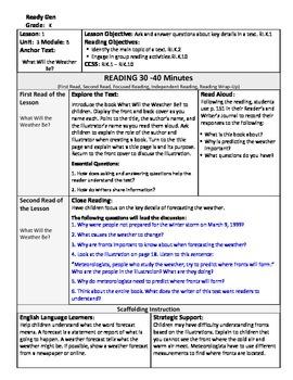 ReadyGen Lesson Plans Unit 3 Module B - Word Wall Cards - EDITABLE -Kindergarten