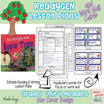 ReadyGen Lesson Plans Unit 4 Module B  - Word Wall Cards - EDITABLE -Grade 1