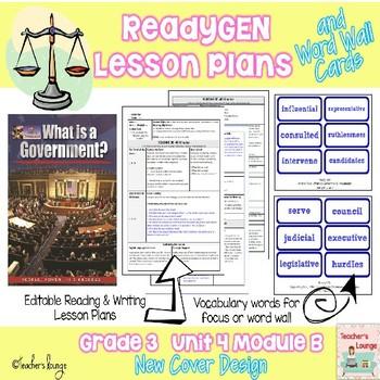 ReadyGen Lesson Plans Unit 4 Module B  -Word Wall Cards- EDITABLE - Grade 3