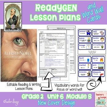 ReadyGen Lesson Plans Unit 6 Module B  - Word Wall Cards - EDITABLE -Grade 2