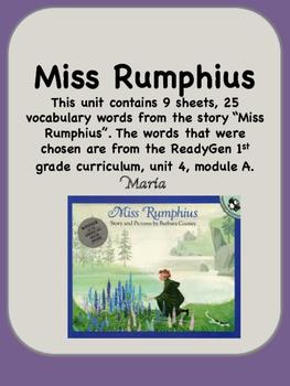 ReadyGen Miss Rumphius Vocabulary 1st Grade Unit 4 Module A