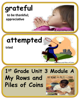 ReadyGen My Rows and Piles of Coins Vocabulary 1st grade Unit 3 Module A