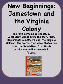 ReadyGen New Beginnings: Jamestown and the Virginia Colony 5th Unit 4 Module B