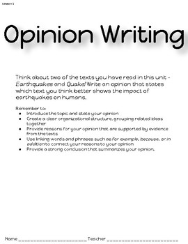 ReadyGen Opinion Writing Task - Quake! and Earthquakes