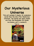 ReadyGen Our Mysterious Universe Vocabulary 5th Grade Unit 3 Module B