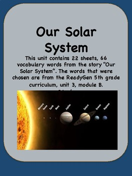 ReadyGen Our Solar System Vocabulary 5th Grade Unit 3 Module B