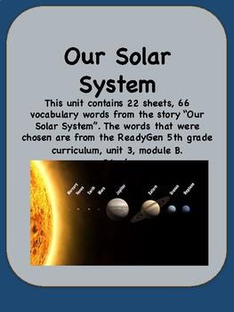 ReadyGen Our Solar System Vocabulary 5th Grade Unit 3 Module B