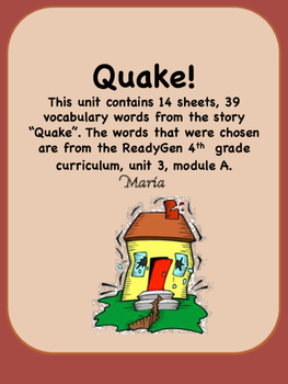 ReadyGen Quake! Vocabulary 4th Grade Unit 3 Module A