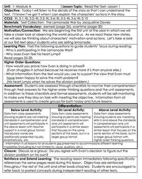 ReadyGen READ THE TEXT 1A Gr 3 Lesson Plans *DANIELSON FORMAT*