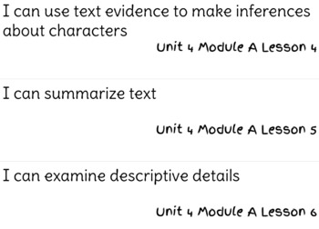 ReadyGen Reading Unit 4 Modules A&B I Can Statements
