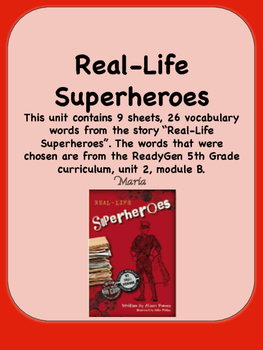 ReadyGen Real-Life Superheroes Vocabulary 5th Grade Unit 2 Module B