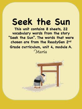 ReadyGen Seek the Sun Vocabulary 2nd Grade Unit 4 Module A